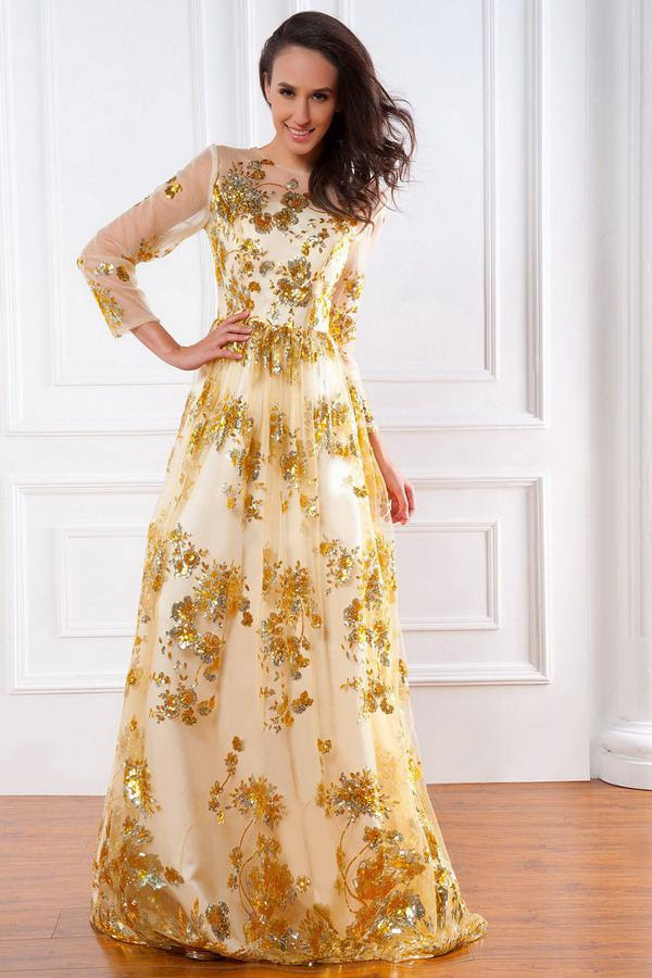 Gold evening dresses plus size