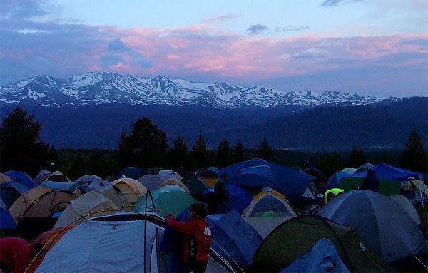 Sunrise over Mount Massive and the RtR tent city