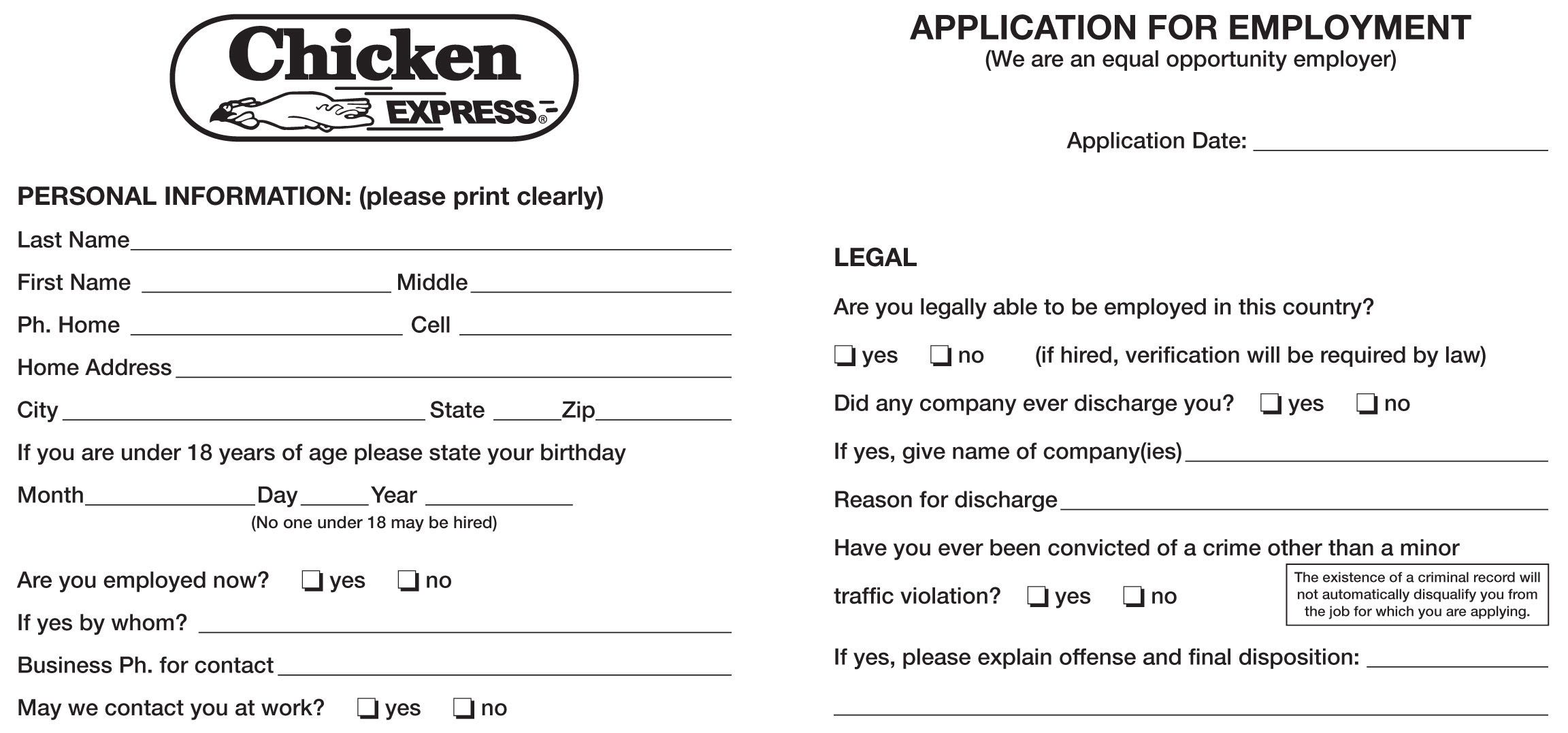 Job Application Form For Year Olds on