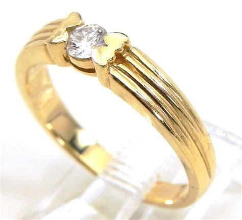 Ladies 14k Ribbed Yellow Gold Solitaire Diamond Engagement