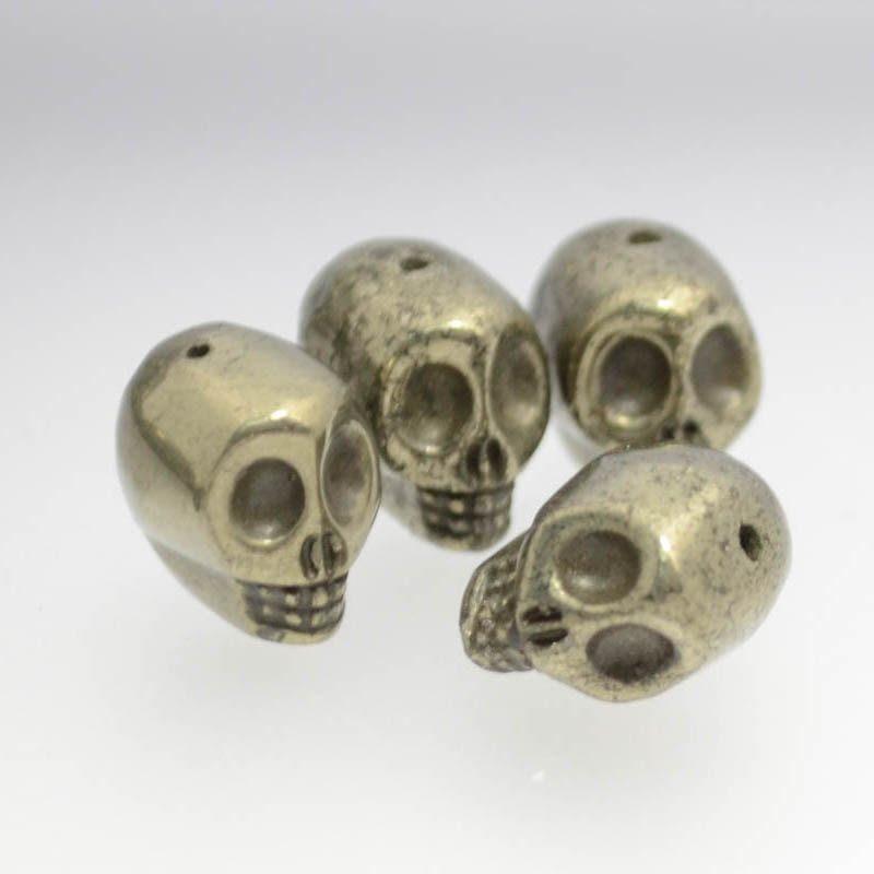 s38329 Stone Beads - 8 x 12 mm Skull - Pyrite (1)