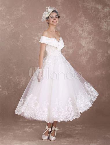 Vintage Wedding Dresses Off The Shoulder Short Bridal