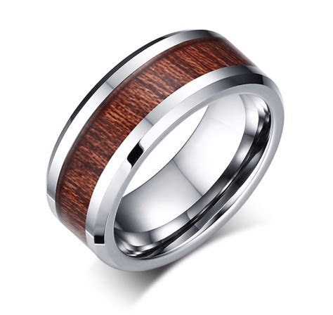 Men's Tungsten Carbide And Wood Grain Wedding Band Ring