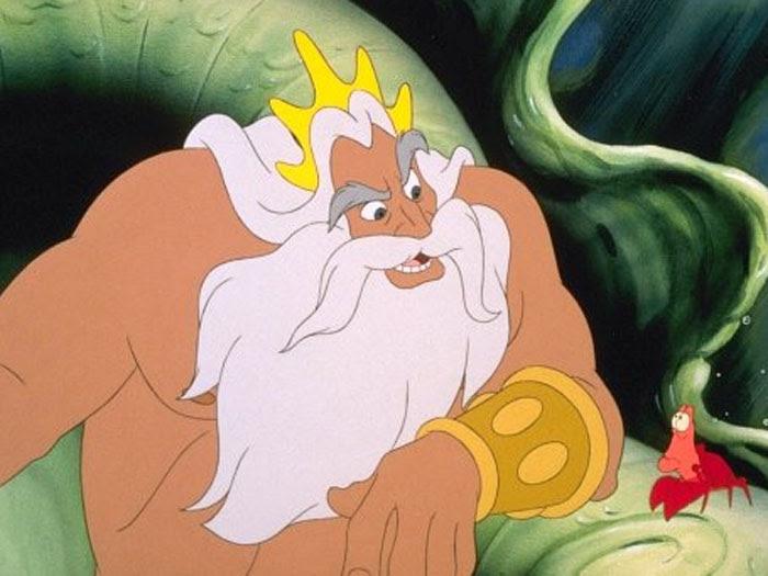 O rei Tritão é o pai da sereia Ariel que, ao se apaixonar por um humano, deseja abandonar a vida marítima para viver um grande amor