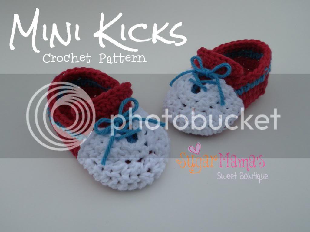 Mini Kicks Baby Sneakers Crochet Pattern by Amanda Moutos Designs