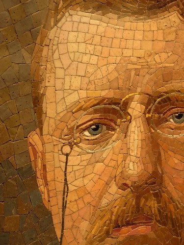 glass mosaic of Theodore Roosevelt-- closer yet