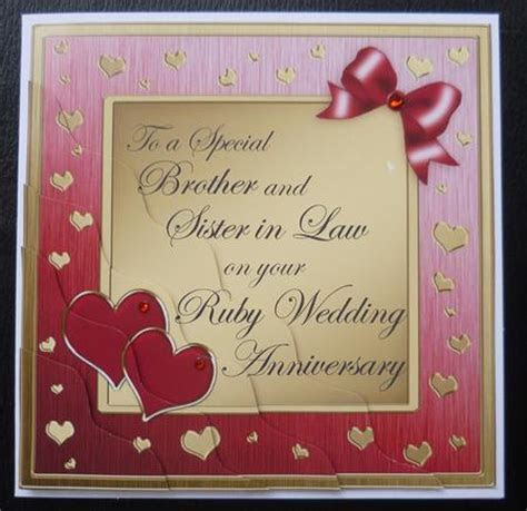 Brother and Sister in Law Ruby Wedding Anniversary