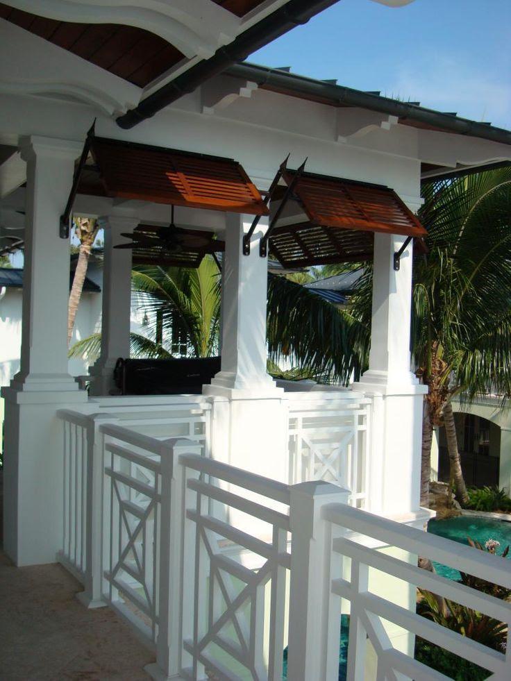 British West Indies Spanish Cedar Stained Bahama Shutters, 0065