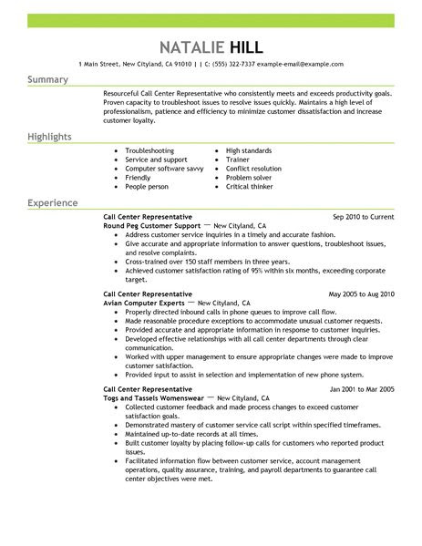 call center representative customer service resume example emphasis 2 463x600