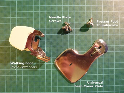 Walking Foot, Feed Cover Plate, Needle Plate Screws, and Presser Foot Thumbscrew