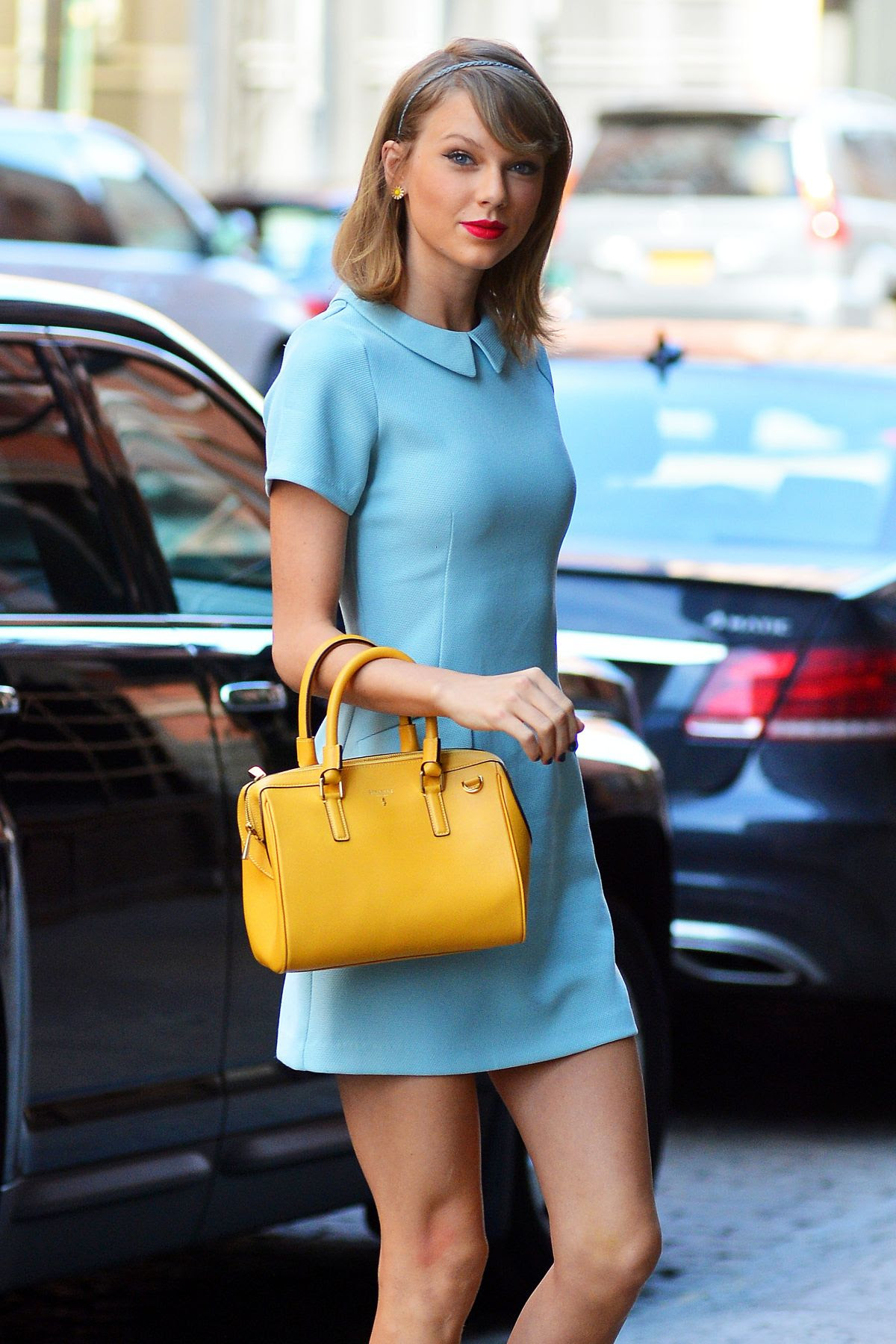 TAYLOR SWIFT in Short Dress Out in Tribeca 04/18/2015