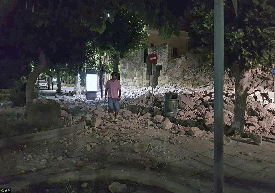 Damage was widespread across Kos with rescuers battling to sift through rubble this morning to find any survivors