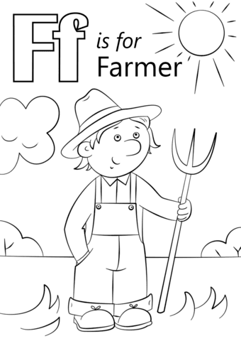 Letter F is for Farmer coloring page | Free Printable ...