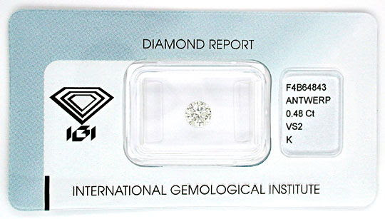 Originalfoto DIAMANT, IGI-GUTACHTEN!, TOP-BRILLANT 0,48ct VS2 JUWEL!