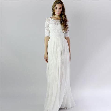 Half Sleeve Long White Vintage Lace Beach Summer Wedding
