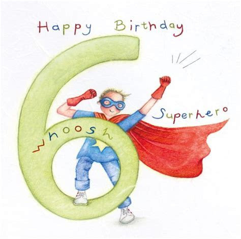 6th Birthday Card Boy   SUPERHERO Birthday CARD   Happy