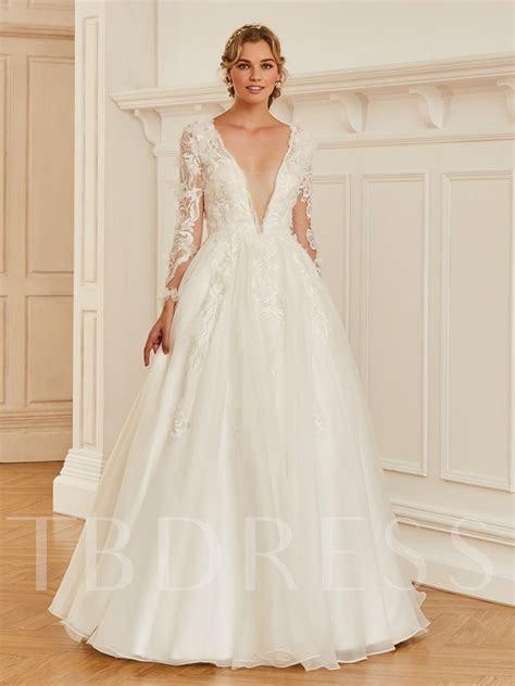 Deep V Neck Appliques Long Sleeve Wedding Dress   Tbdress.com