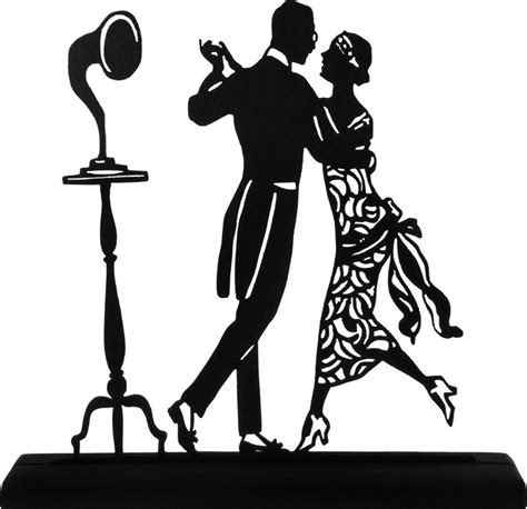 1920's Dancing Couple Handmade Display Wood Silhouette