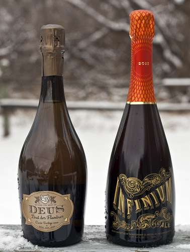 DeuS Brut des Flandres (2009) and Sam Adams' Infinium Ale (2011) by Cody La Bière