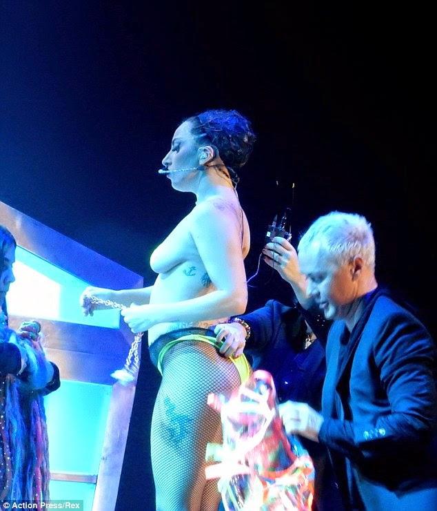 Lady Gaga Performs on Stage Topless… No Bra! No Shirt! *PHOTOS*