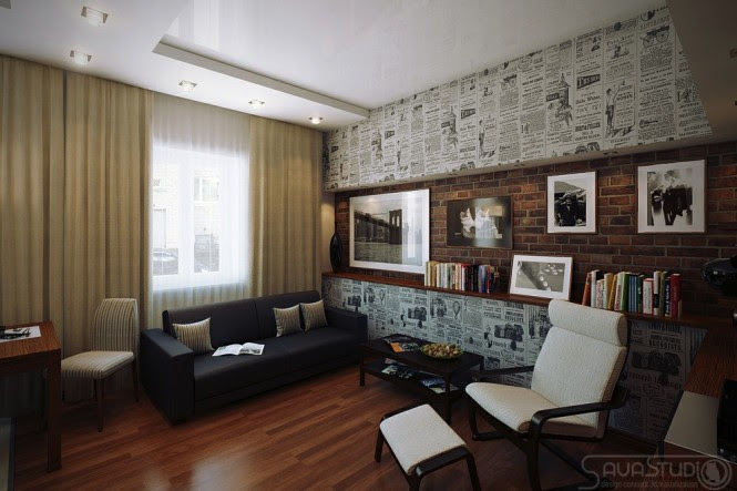 Retro poster wallpaper lounge feature wall