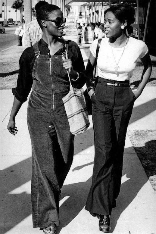 Le Fashion Blog 1970s 70s Street Style Vintage Photos Suede Wide Leg Overalls Bell Bottoms Flared Pants Via Tres BlaseLe Fashion Blog 1970s 70s Street Style Vintage High Waisted Shorts Corduroy Crop Top Gingham Photos Via Tres Blase