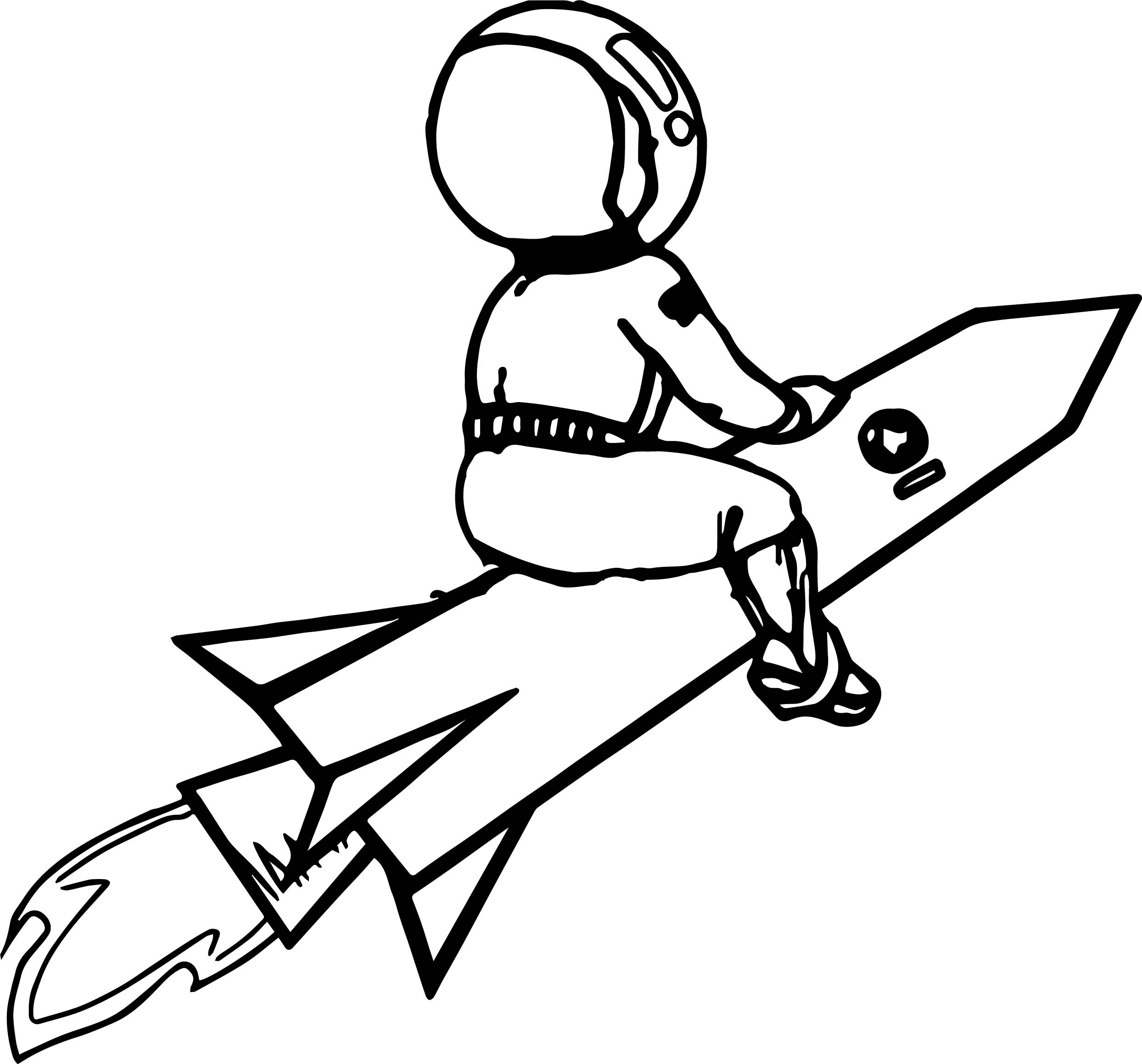 Astronaut On Rocket Coloring Page
