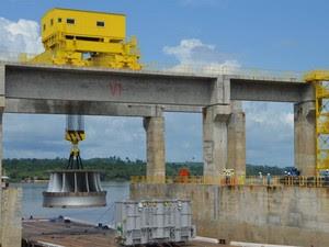 Turbina da unidade geradora I de Belo Monte (Foto: Betto Silva/ Norte Energia)