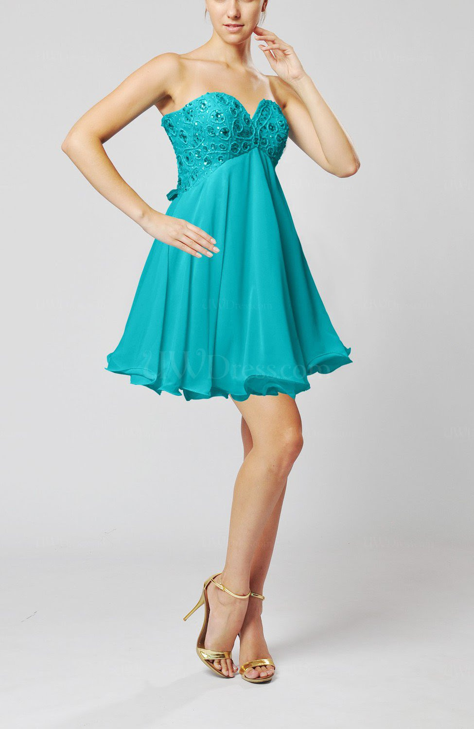 teal sexy sweetheart sleeveless backless chiffon mini