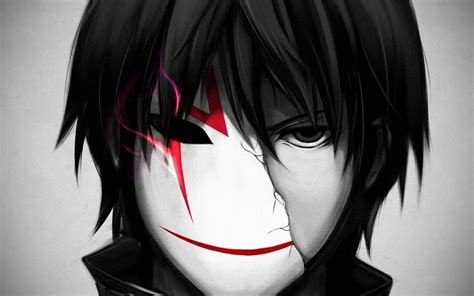 black  white anime art animepictures