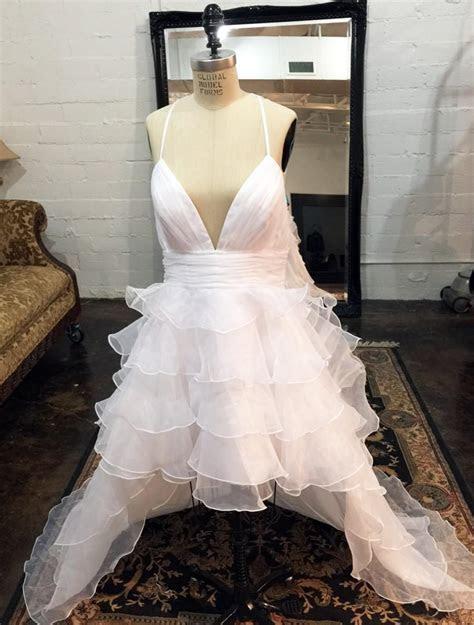 High Low Ruffle Organza Wedding Dress With Detachable