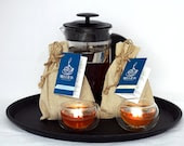 Mela Teas Exotic Tea Gift Set with 1000ml French press and Two Double Wall Glasses