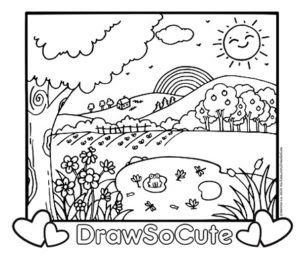country scenery coloring page  draw so cute