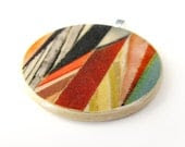 Sushipot Collage ART PENDANT - Original Collage Pendant with Necklace