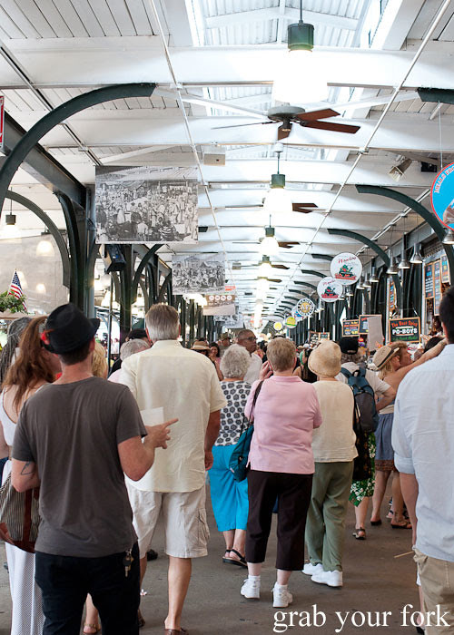 crowds inside the french market in new orleans louisiana