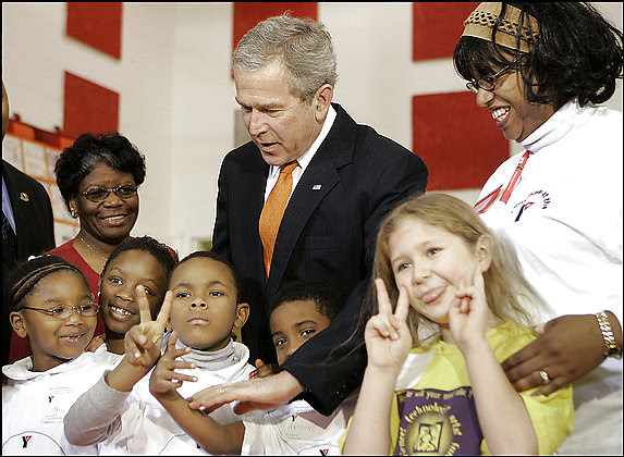 When one child asked President Bush why he was visiting the District's YMCA Anthony Bowen Center, he said,