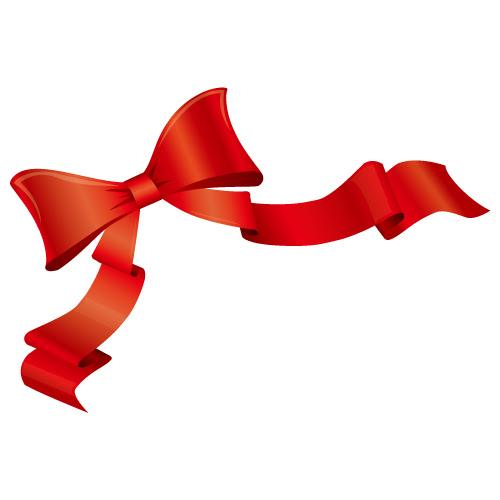 ヒラッとなびく赤色のリボンイラスト 無料商用可能リボン