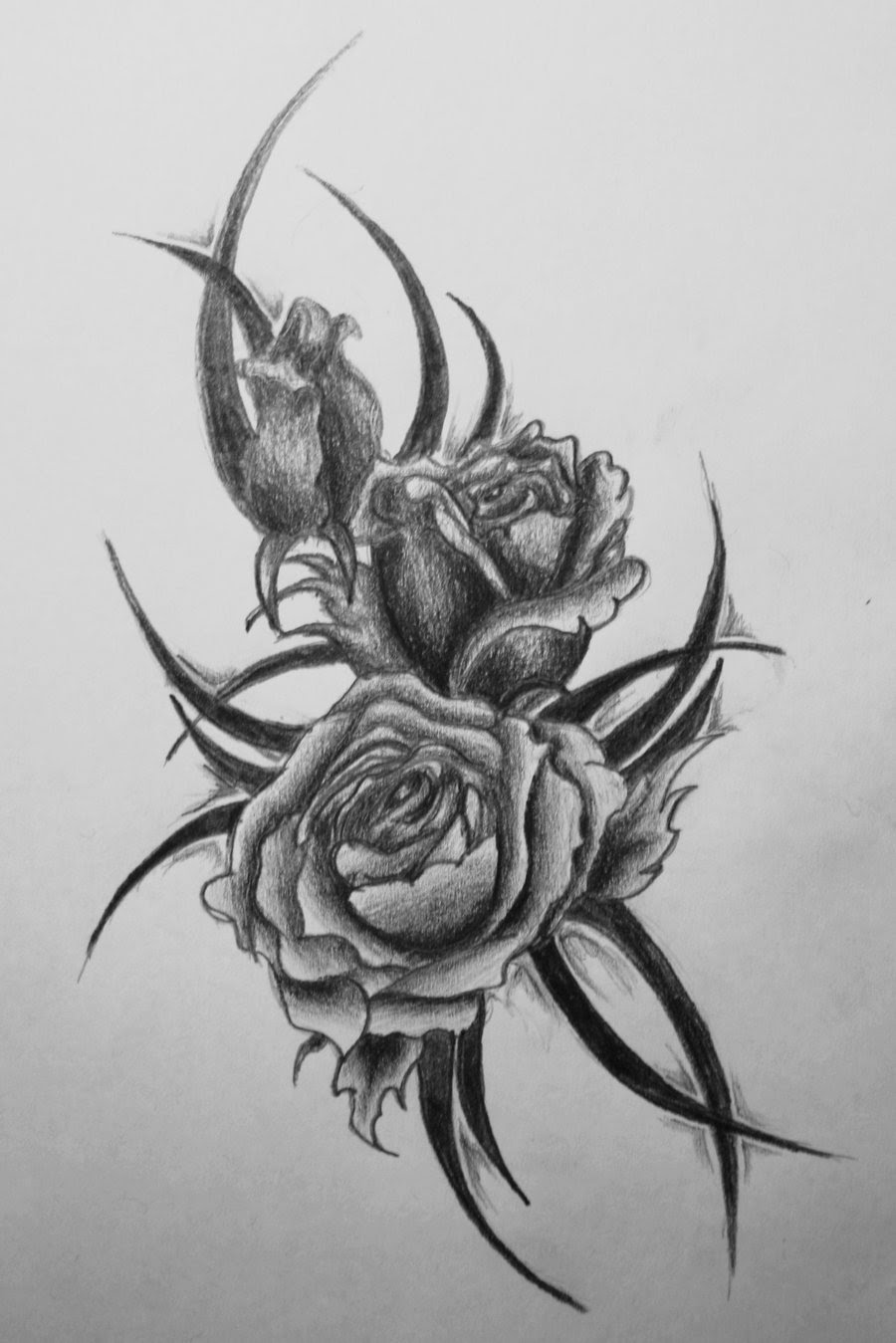 Black Tribal And Rose Tattoo Design