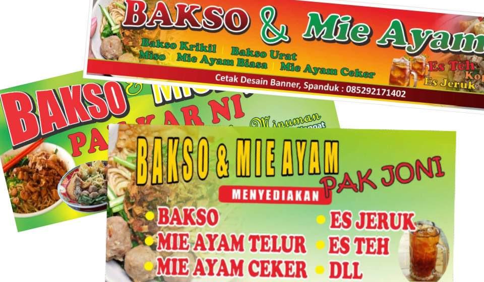 3 Desain Banner Spanduk Bakso Dan Mie Ayam Cdr Serbabisnis