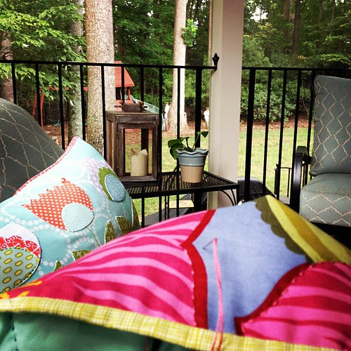 Working on whole quilt while enjoying my meadow pillow - good Saturday!