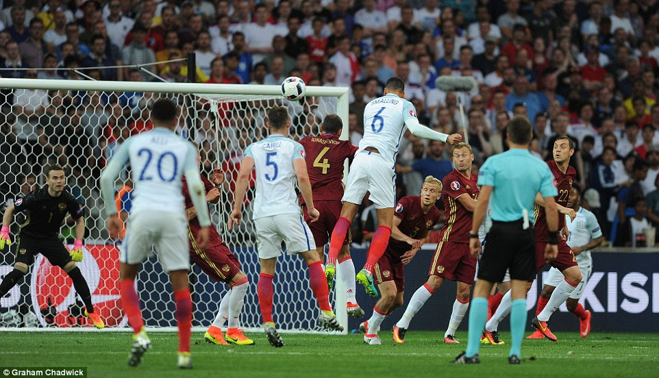 Chris Smalling was the next England player to see an effort saved after the centre back fired a free header straight at the goalkeeper