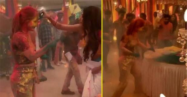 Erica Fernandes, Hina Khan play Holi with each other on Kasautii Zindagii Ke sets! Puts an end to cold war rumors