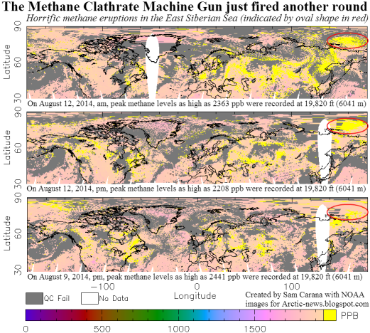 Large methane release over East Siberian Sea August 2014