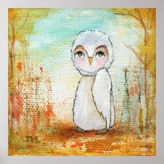 Autumn Joy Whimsical Woodland Owl Art Painting Poster
