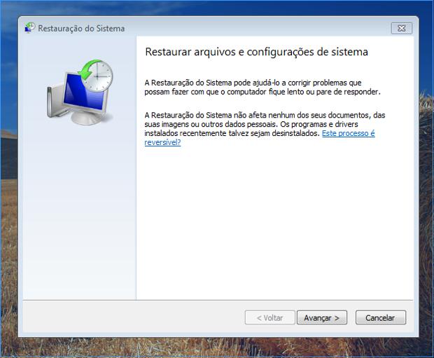 Restauração do sistema no Windows 7 (Foto: Reprodução/Thiago Bittencourt)