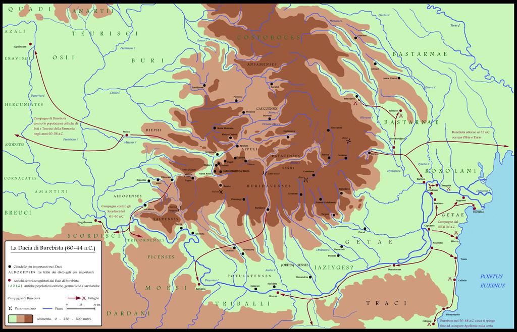 Dacia alrededor de 60-44 aC durante Burebista, incluidas las campañas - Italian.png