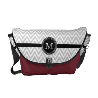Grey white chevron monogram Rickshaw messenger Courier Bag