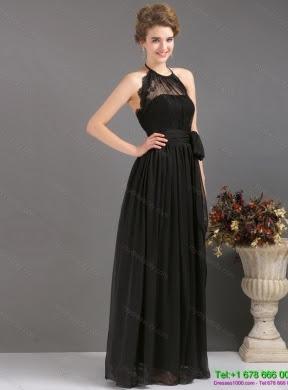 Long black halter evening dress