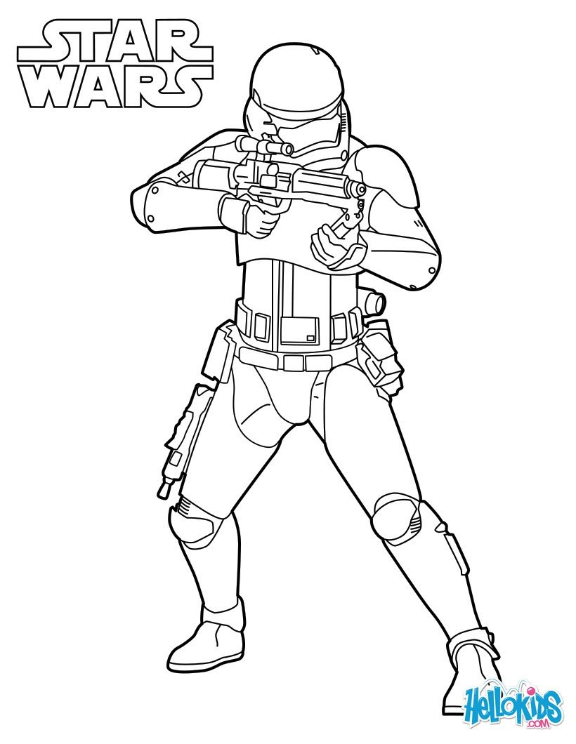 Star Wars Spaceships Stormtrooper from Episode 7 coloring page