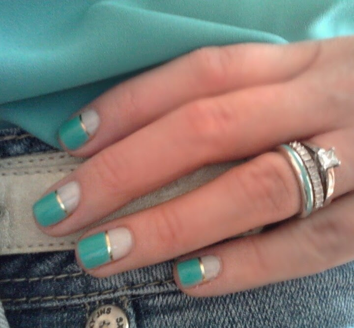 Mint Nails.. love the gold stripe!